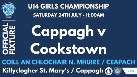 U14 Girls Play Cookstown on Saturday